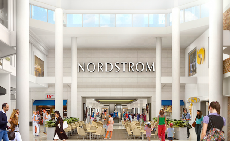 (rendering of the mall entrance to the cf sherway gardens nordstrom store. Image: nordstrom)