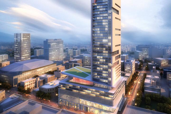 (winnipeg's 'skycity' tower (earlier rendering), featuring a substantial retail podium for tenants including a grocery store)
