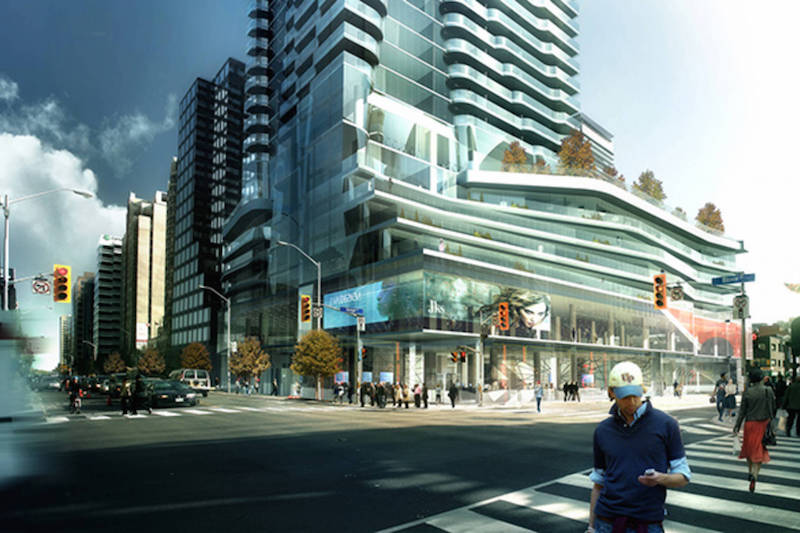 (toronto's one bloor street east will feature canada's first nordstrom rack store, with about 10,000 square feet at street level as well as an additional 30,000 upstairs. rendering: great gulf)