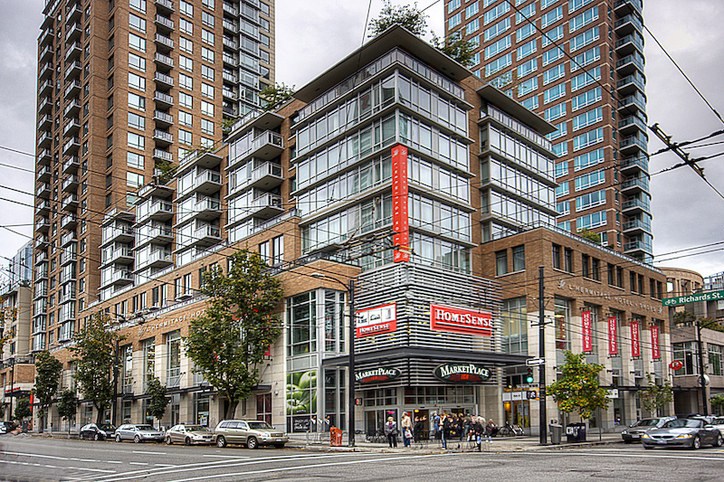 (Vancouver's l'hermitage tower marketed units based on having convenient retail at its base)