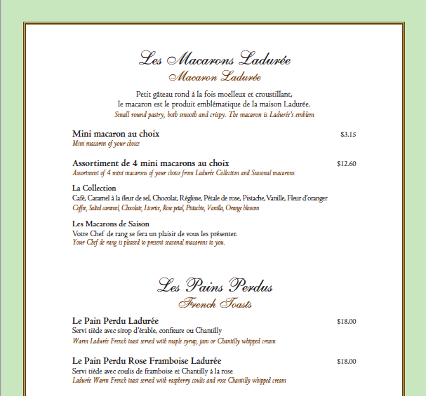 (click for full pdf menu from ladurée vancouver, robson street)