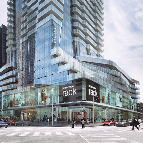 (Rendering of one bloor east, from the corner of yonge & bloor streets. image: first gulf)