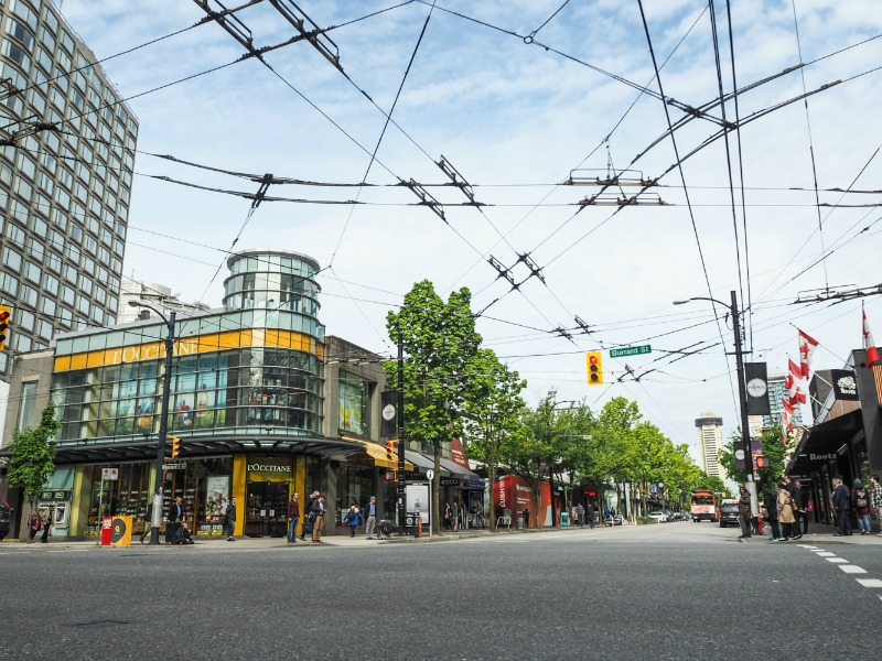 (southwest corner of robson street and Burrard Street. Photo: robson street bia)