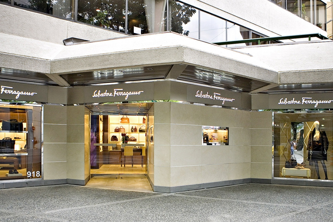 (italian luxury fashion brand salvatore ferragamo operates a store at 918 Robson Street. Photo: Klondike Contracting )