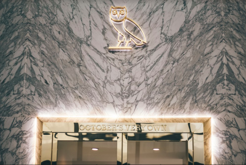 (OVO logo over the entrance to the new Yorkdale store)