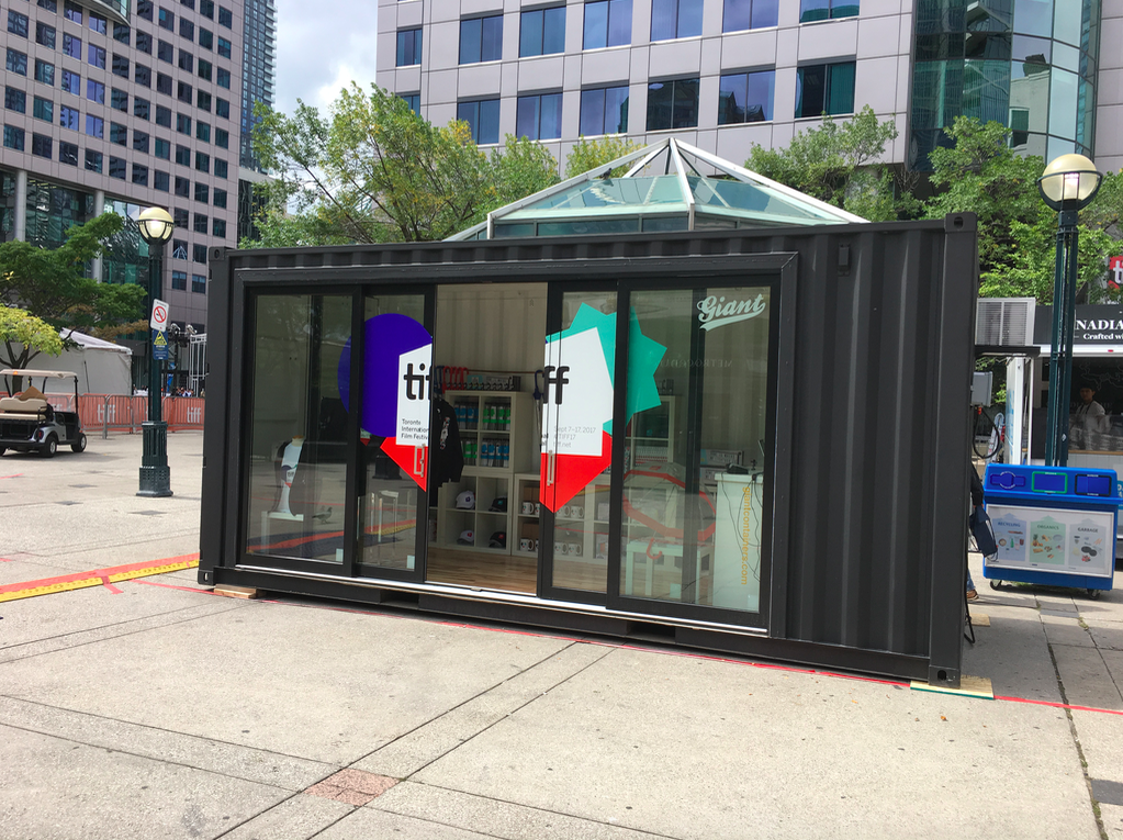 (Above and below: TIFF-branded mini-shop, just off King St. West.  JC Williams Group  was involved with its design and merchandising)