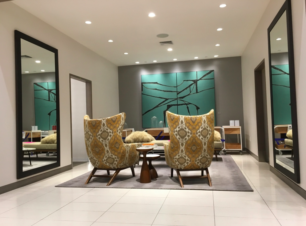 (Comfortable seating area near women's fashion departments)