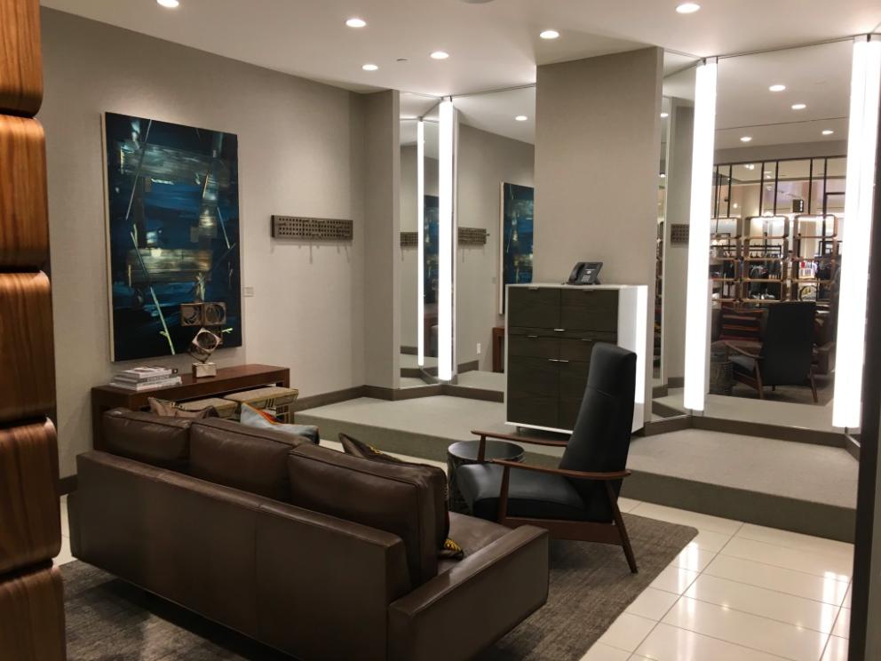 (Men's lounge/dressing area)