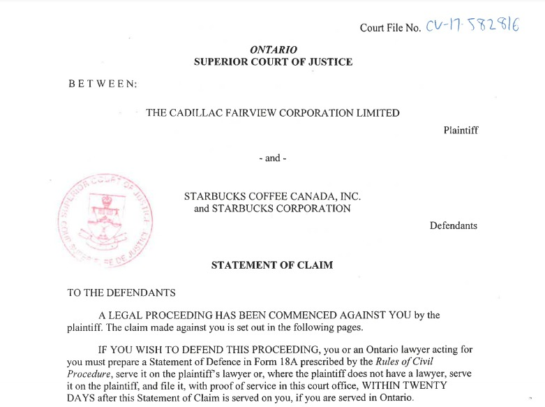 (image: front page of filed statement of claim)