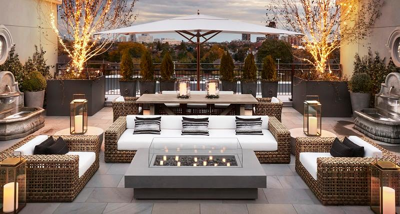 (Fourth floor exterior terrace, with views of downtown Toronto)