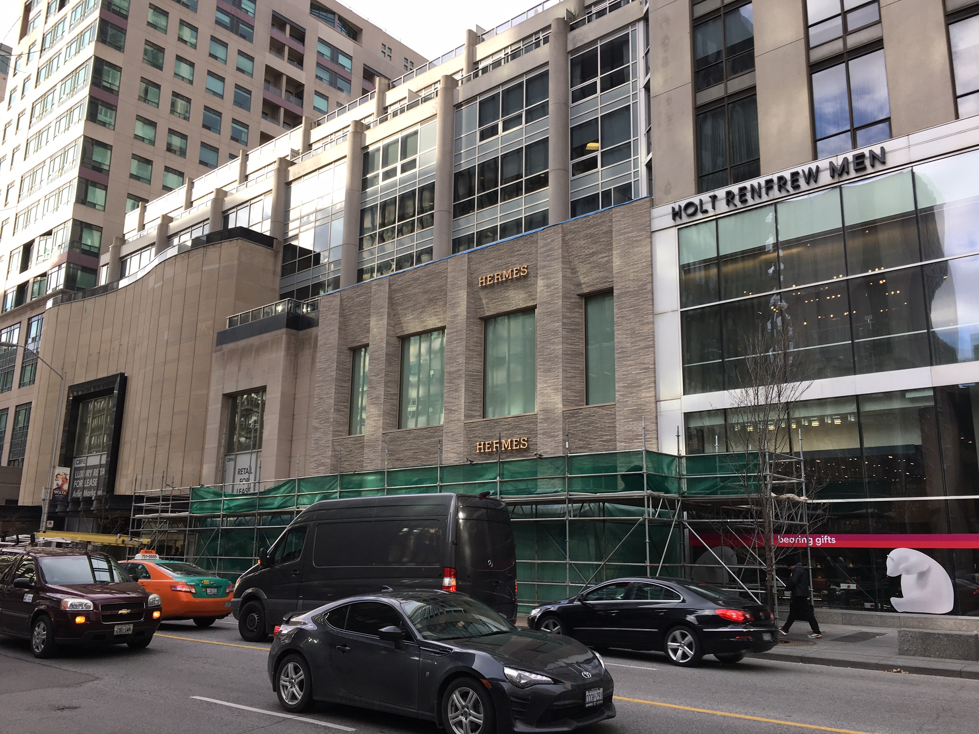 (Hermes prepares to open a flagship at 100 Bloor Street West on November 22, 2017. Photo: Retail Insider)