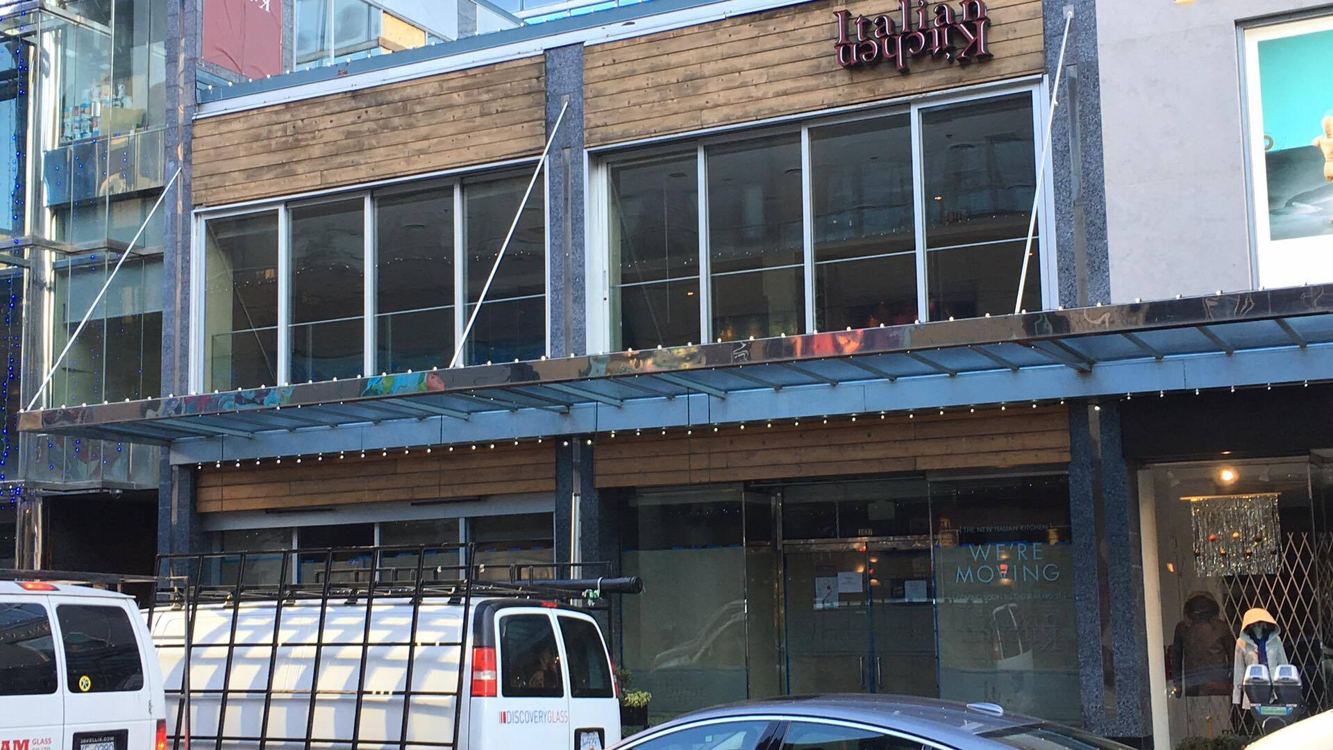(Restaurant 'Italian Kitchen' recently relocated off Alberni Street to a space on Burrard Street. Upscale multi-brand jeweller Montecristo will replace it in 2018. Photo: Lee Rivett)