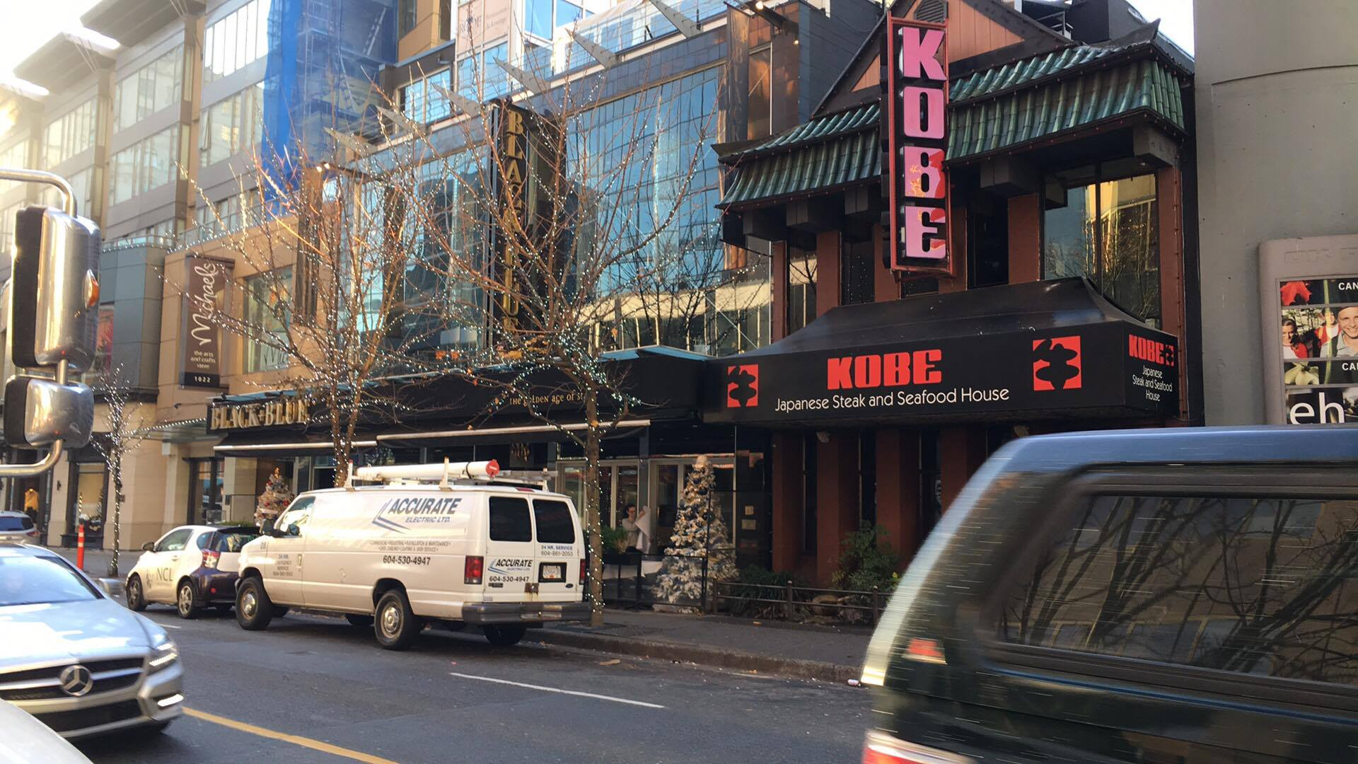('Restaurant row' in the mid-1000 block of Alberni street -- the Kobe Steak House will eventually be demolished for a new retail space. Photo: Lee Rivett)
