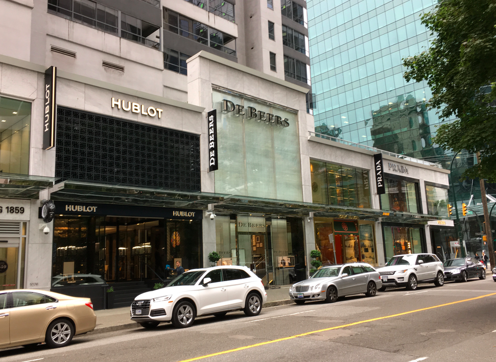 (The Carlyle on Alberni Street's 1000 Block includes Hublot, De Beers, Tory Burch anD Prada on the Alberni Street side, as well as saint Laurent and Moncler on thurlow Street and, soon, Off-White in the alleyway. Photo: Craig Patterson)