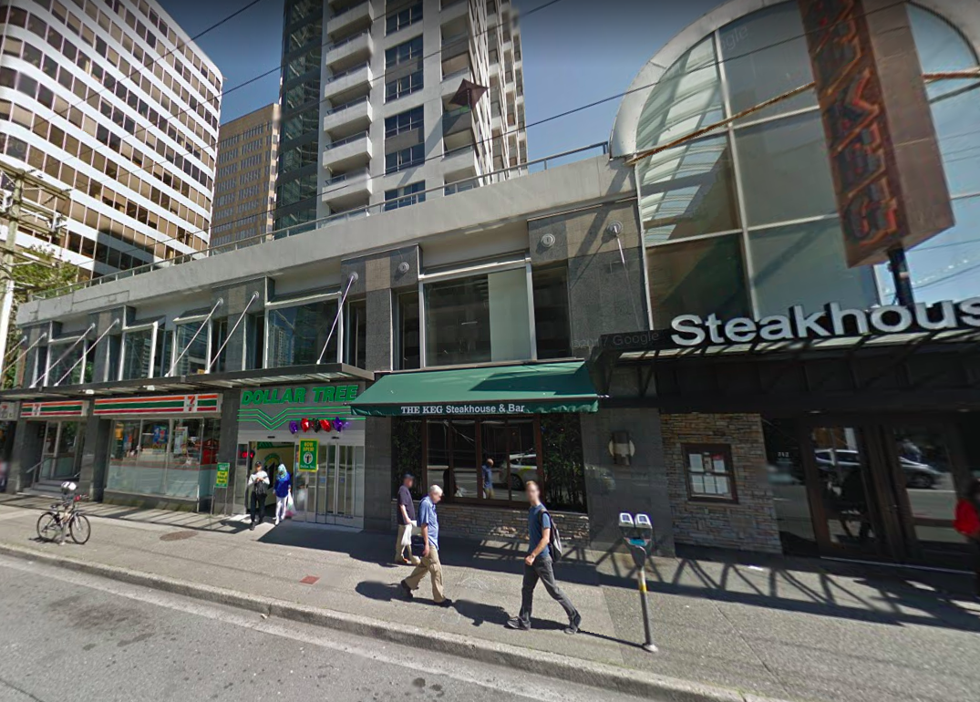 (The Carlyle's Thurlow Street side in August of 2012, via Google Street View. The Keg Steak House now includes the atrium for saint laurent, and Prada replaced Dollar Tree and 7-Eleven)