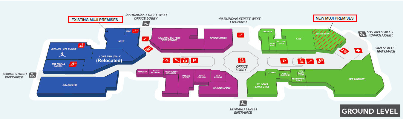 (Street level floor Plan of the atrium in Toronto. 'New Muji Premises' will be the pop-up space)