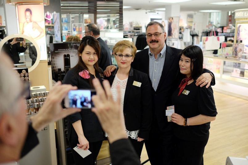 Sears Metrotown: Former Sears Canada CEO Ron Boire visited the Burnaby store in 2015 as part of his B.C. tour. Boire stopped to visit with Metrotown employees Joyce Chien, Vicky Hernandez and Bianca Leung. Photo: LARRY WRIGHT/BURNABY NOW
