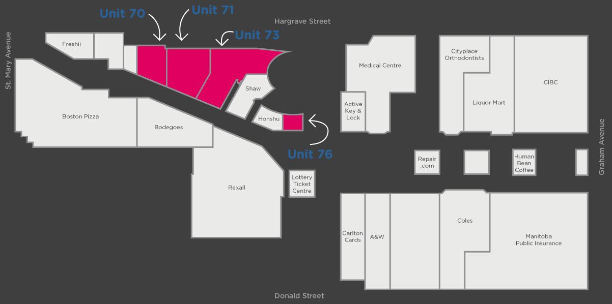 (Floor Plan of the pop-up spaces at winnipeg's Cityplace)