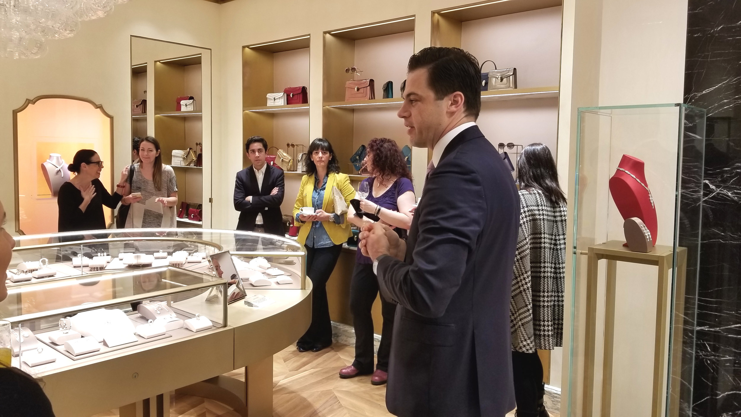 [Daniel Paltridge, President of Bulgari North America, speaks to media at the opening]