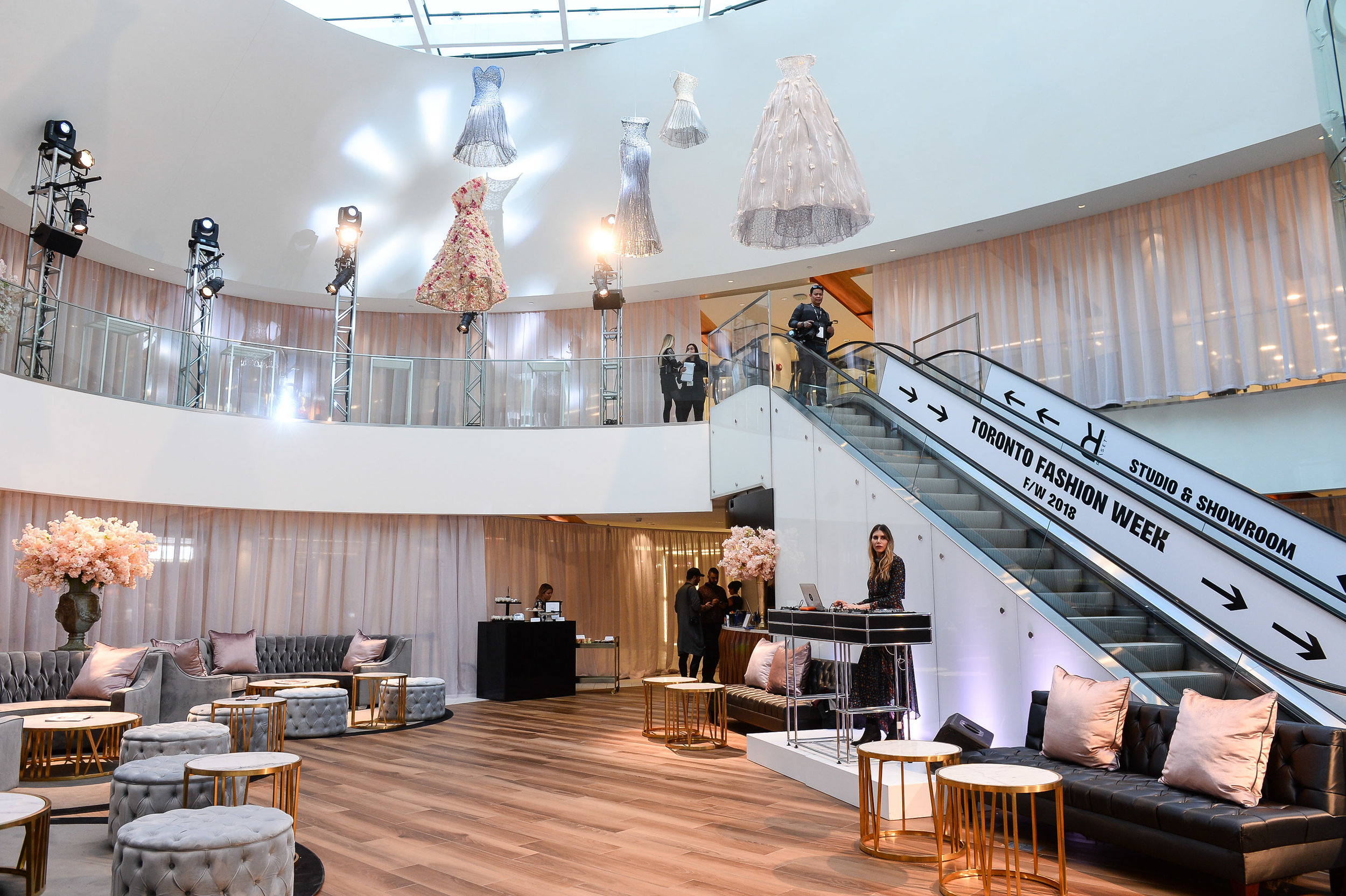 ('The Oval' at Yorkville village was TRANSFORMED into a VIP lounge, with unique art above. Photo:George Pimentel)