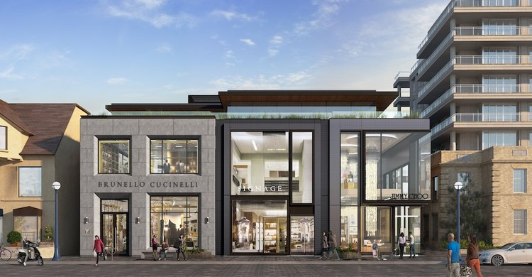 102-108 Yorkville Avenue will house Brunello Cucinelli, Jimmy Choo and Her Majesty's pleasure when it's finished towards the end of this year. the two-level middle retail space is available. Rendering via First Capital Realty [ Our Article ]