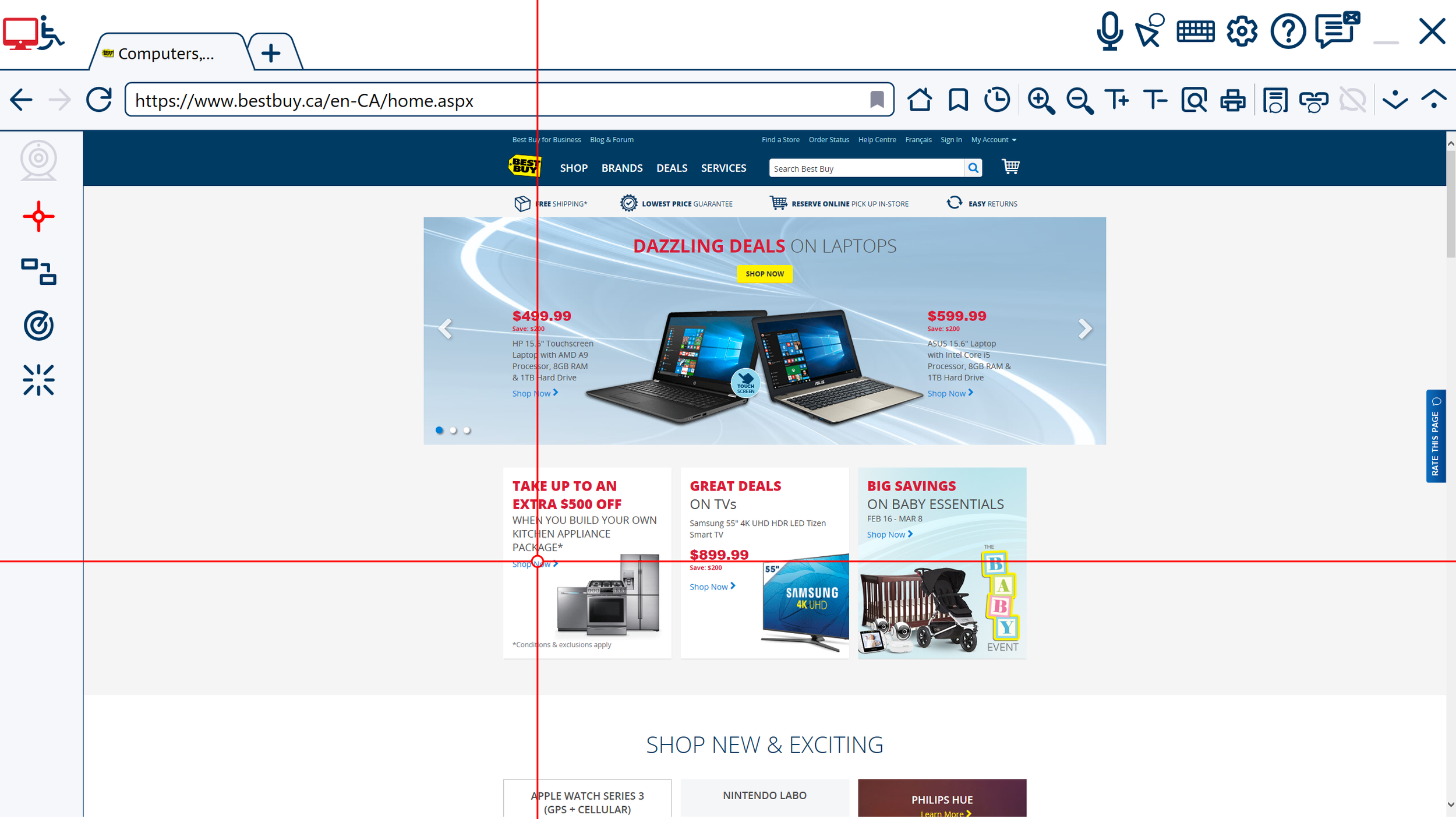 (XY Mouse function on Best Buy Canada Website)