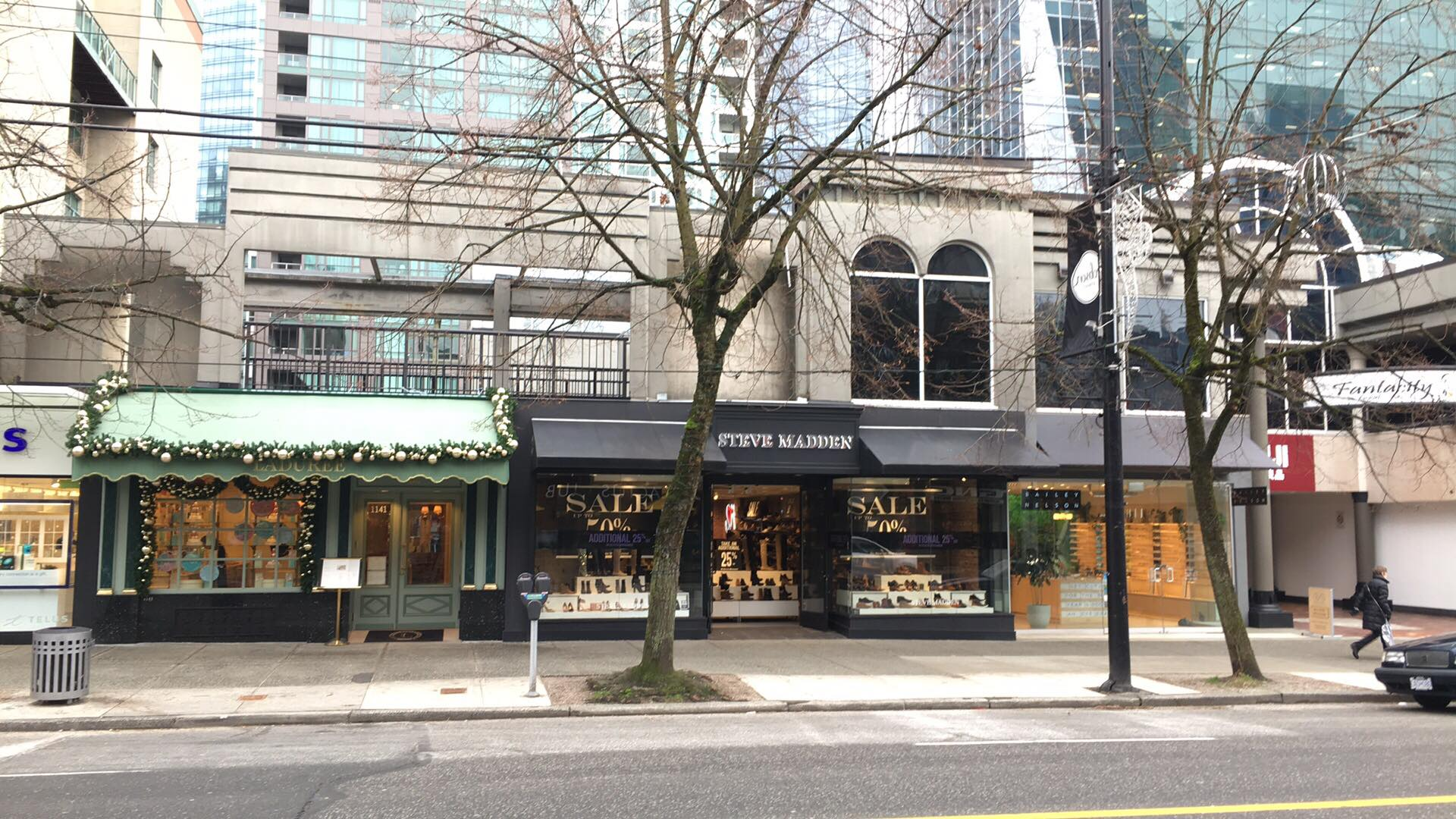 (Left-to-right: Ladurée, Steve Madden, and Bailey Nelson Stores. Photo: Lee Rivett)
