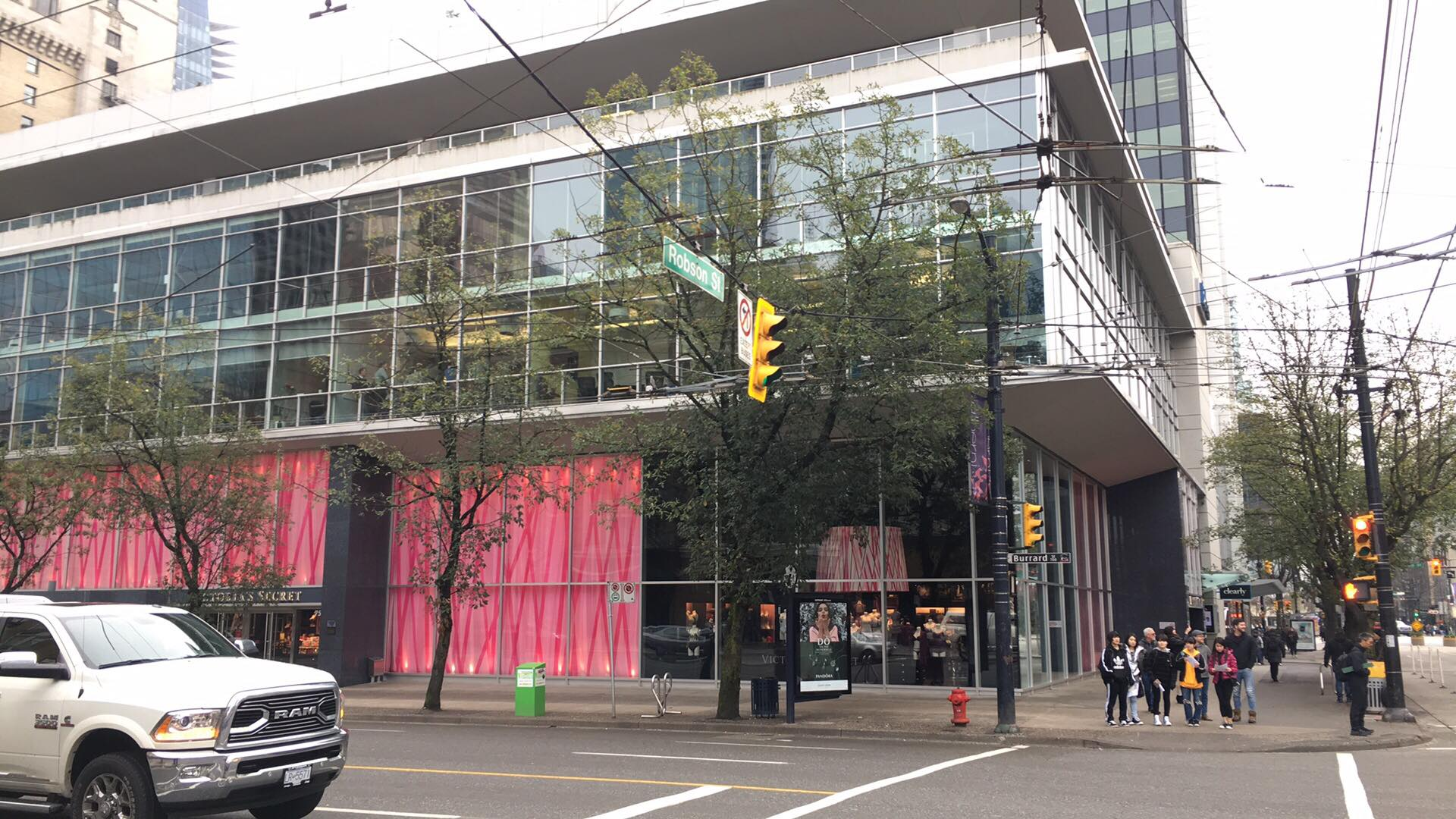 (One of the world's largest Victoria's Secret Stores is located at the northeast corner of Robson and Burrard Streets. Photo: Lee Rivett)