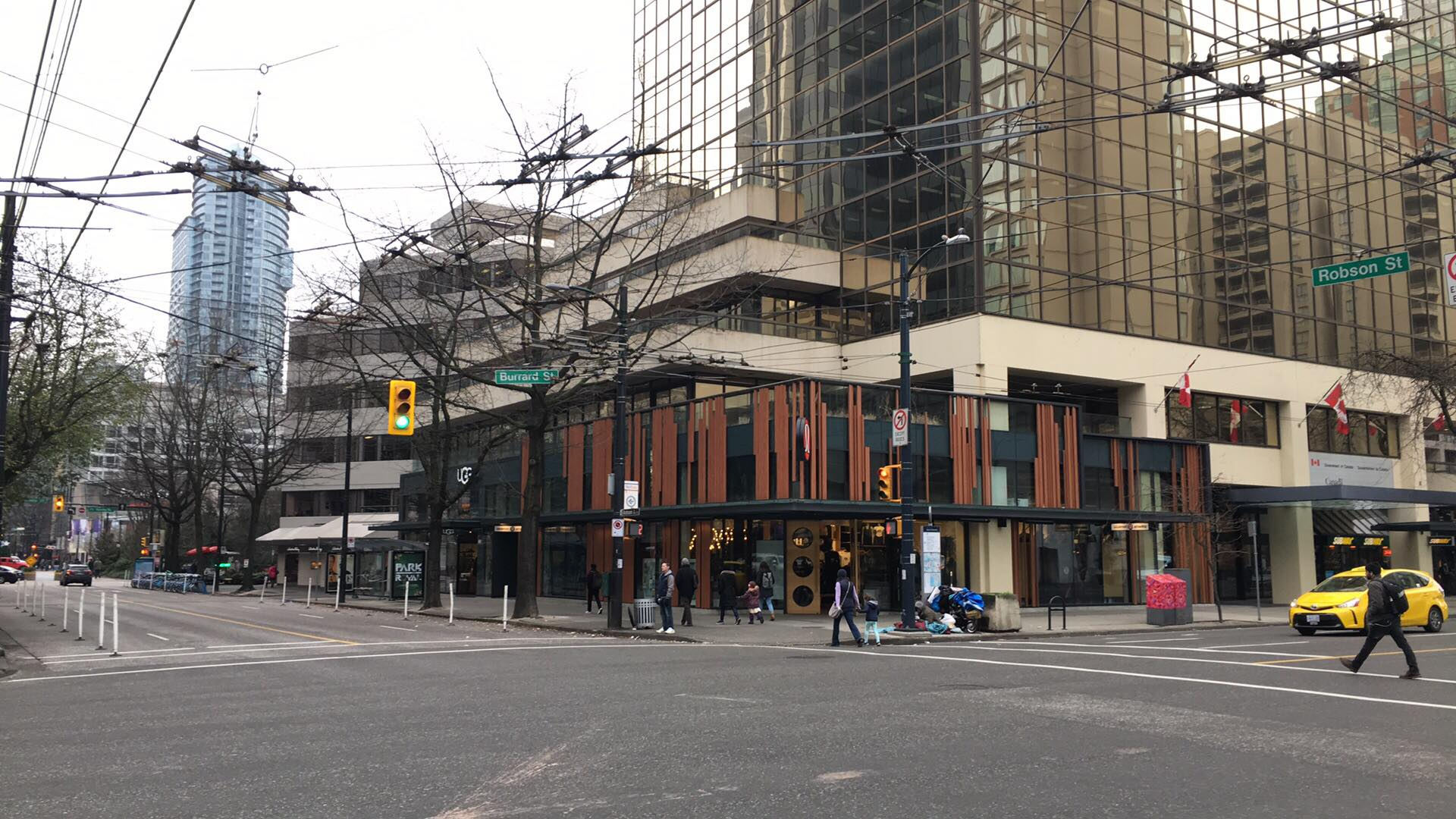 (Lululemon opened a unique flagship store at the southeast corner of Robson and Burrard Streets in 2015. Photo: Lee Rivett)