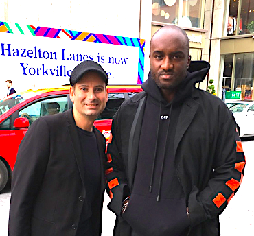 Retail Insider's Craig Patterson, left, with Virgil Abloh at the opening of Off-White's Toronto store in April of 2017.