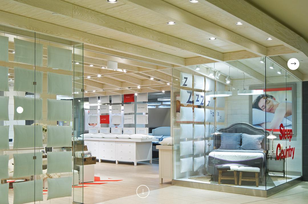 Sleep Country - CF Chinook Centre. Photo:  GH+A DeSIGN STUDIOS