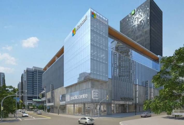 The former Sears store at CF Pacific Centre in Vancouver now houses Nordstrom, several smaller retailers, as well as offices for microsoft and Miller Thomson. Rendering: Cadillac Fairview