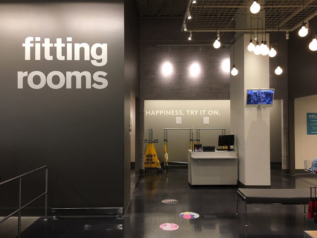 spacious fitting room area