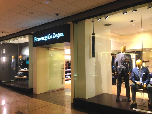 Vancouver's standalone zegna boutique, located across from Harry Rosen at CF Pacific Centre, will see an overhaul that will be revealed in the fall. Photo; Colin Arber.