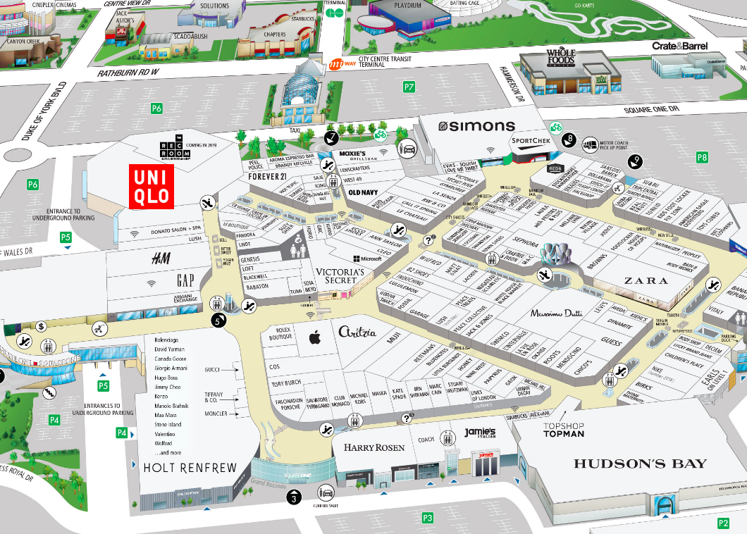 Click image for interactive Square One mall floor plan