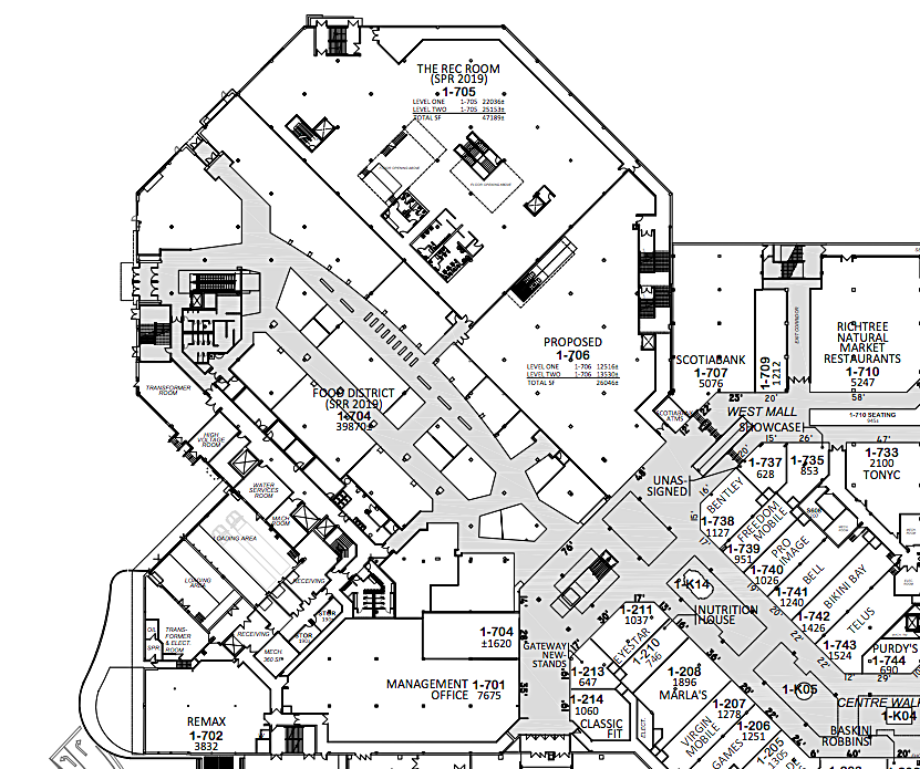 'Level 1' of Square One's West Expansion in the former Octagon-shaped Target box. Lease PLan via Oxford Properties.