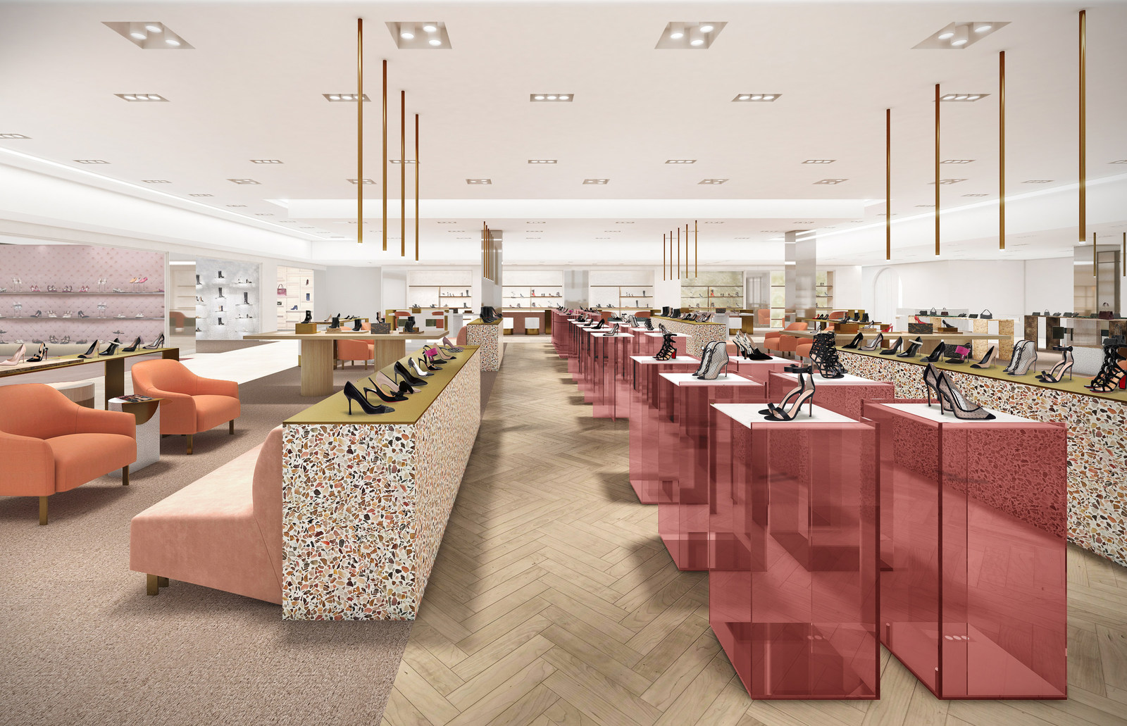 Future 50 Bloor Street West women's shoe hall on the 'mezzanine level', featuring boutiques for Christian Louboutin, Prada, Gucci and Christian Dior. Rendering: Holt Renfrew