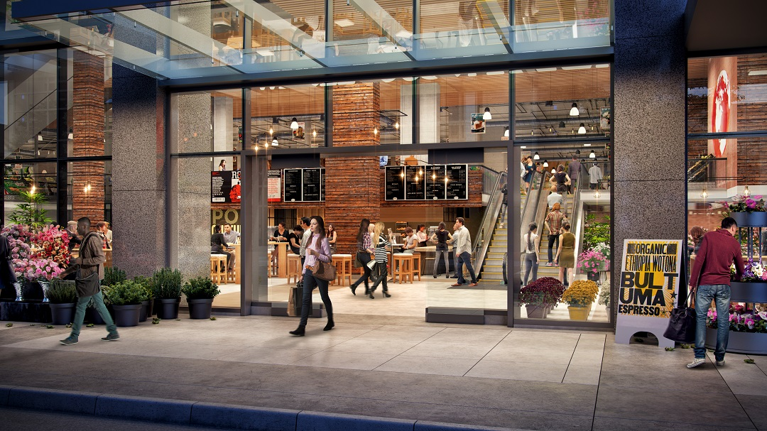 Food & Beverage, including a food hall and grocery store, will be part of the mix.