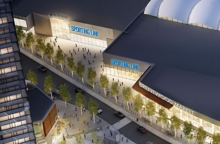 """A rendering from 2017 showed a proposed (and then unconfirmed) """"sporting life"""" store at The Amazing Brentwood. Rendering: Shape Properties."""