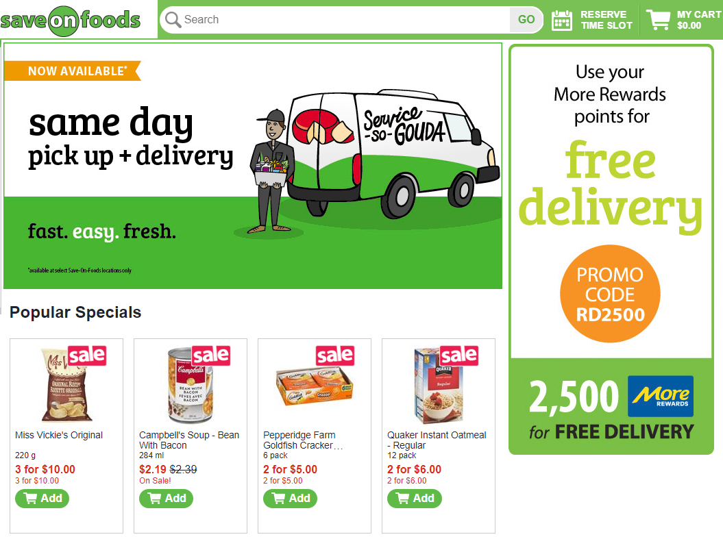 Save on Foods (Overwaitea) online storefront   .