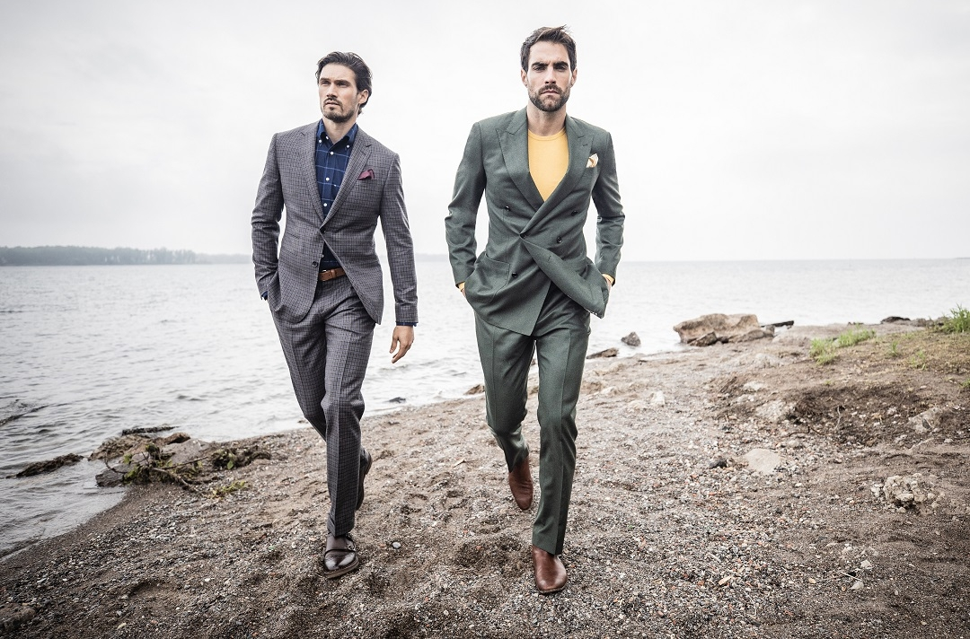 Stafford Micro Check Dark Brown Suit and Whitehall Olive Suit