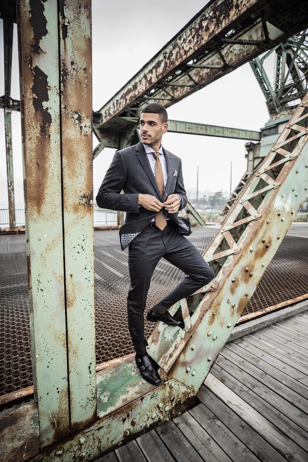 Salford Check Blazer and Hayward Flannel Charcoal Pants