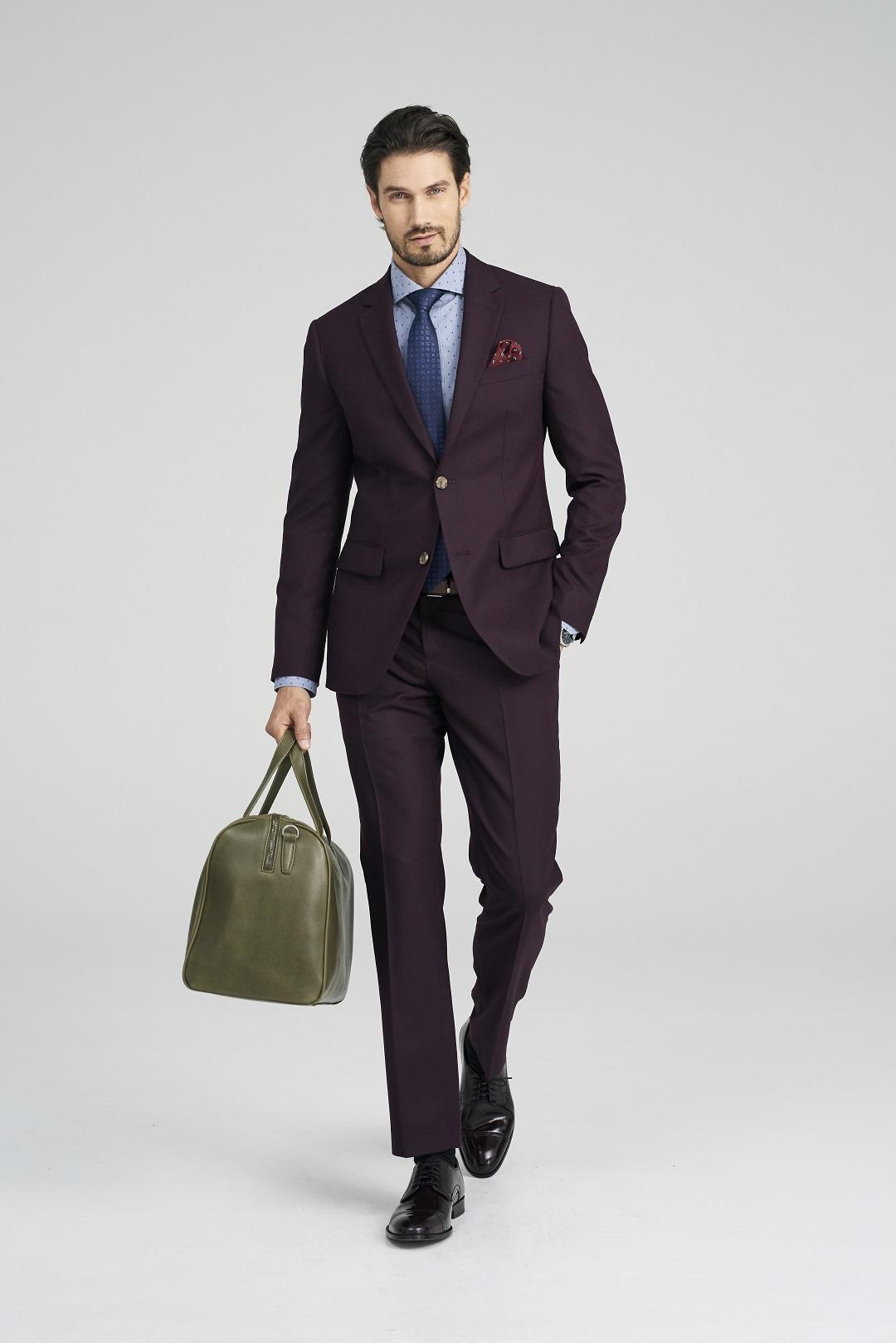Hayward Flannel Burgundy Suit