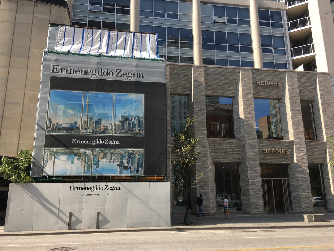 Next to Holt Renfrew men is the Hermes flagship which opened in November of 2017 and this fall, a Zegna boutique will open next to it. Photo: Craig Patterson