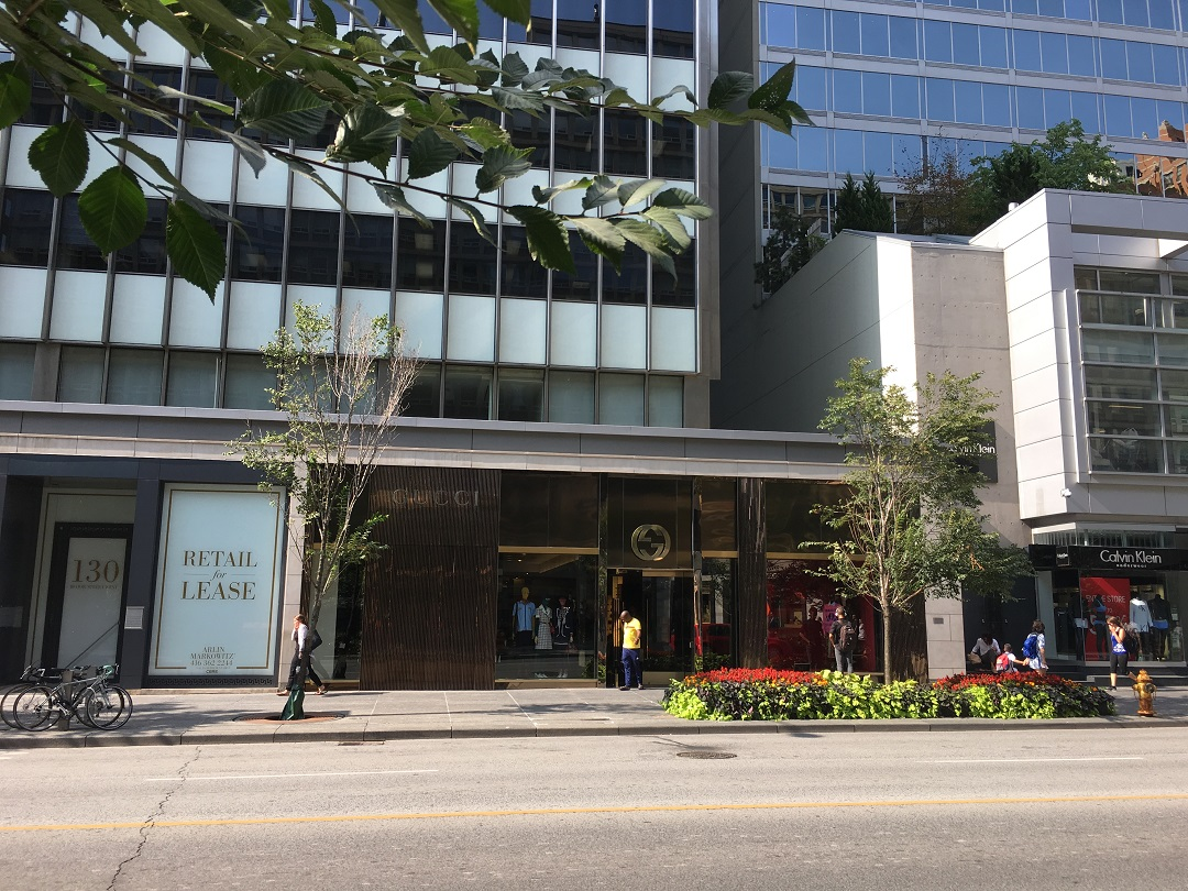 Gucci at 130 Bloor St. W. -- the store will see a renovation and ~1,000 sq ft expansion next year. Photo: Criag Patterson