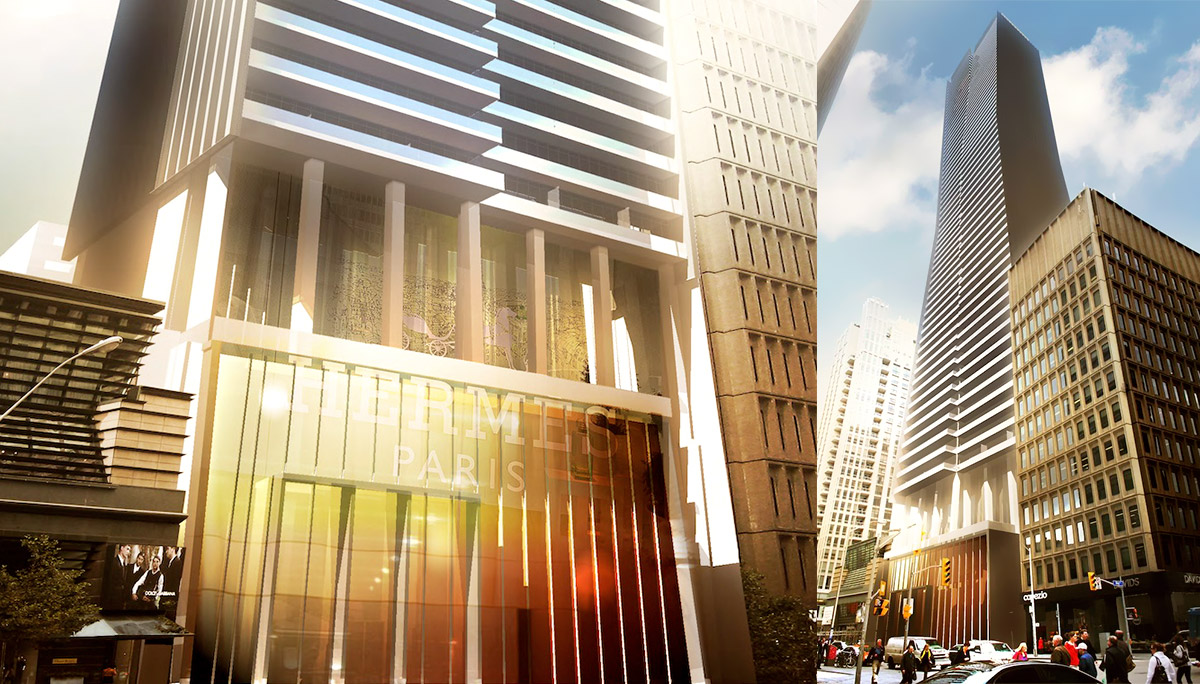 Rendering of the redevelopment of 80 Bloor St. w -- it's not clear if/when the existing tower will be demolished for a retail/residential development