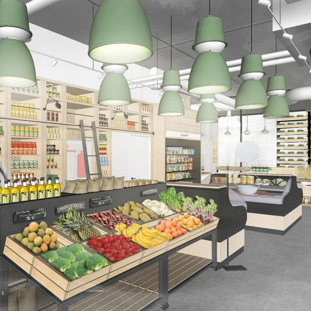 renderings of The Ossington store interiors by @thedesignagency. Photos: Fresh City Farms Facebook