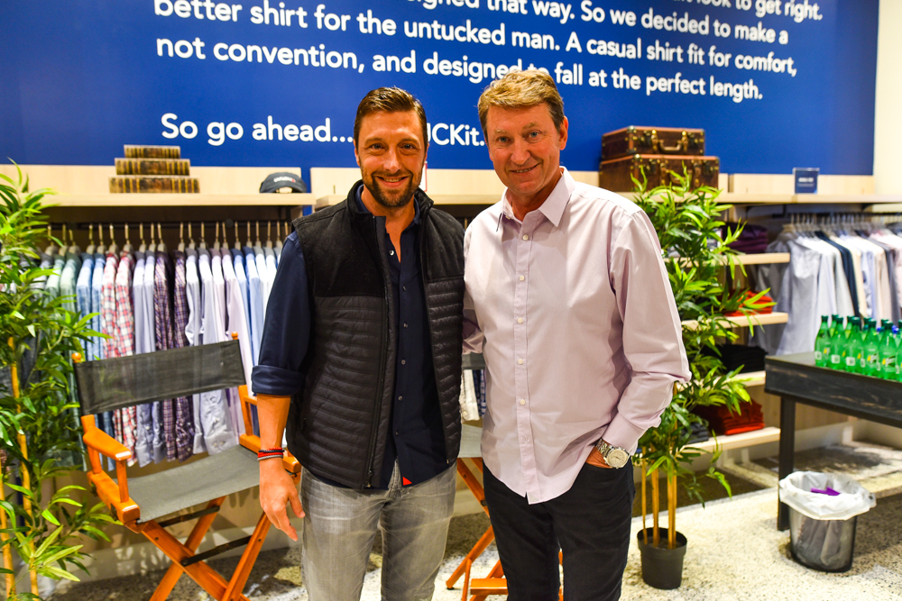 Chris Riccobono and Wayne Gretzky at Sherway Garden location opening.