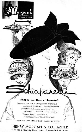 1958 Morgan's Advertisement for Hats from designer Schiaparelli, Priced at $35, which converts to about $310 in today's dollars.