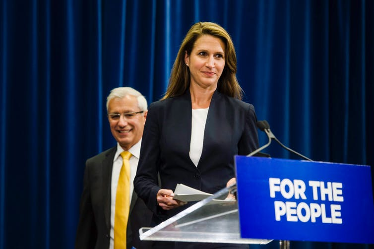 Ontario's Minister of Finance Vic Fideli and Attorney General Caroline Mulroney announced changes to Ontario's cannabis retail model in August. THE CANADIAN PRESS/Christopher Katsarov